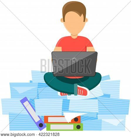 Man Is Doing Large Amount Of Paperwork. Busy Male Employee Sitting At Stack Of Documents With Laptop