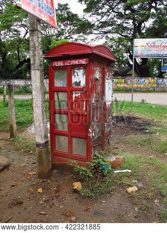 Yala, Sri Lanka - 09 Jan 2011: The Telephone Booth In The Small Village Close Yala National Park, Sr