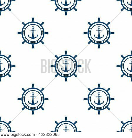 Nautical Seamless Pattern With Blue Helms And Anchors On White. Ship And Boat Steering Wheel Ornamen