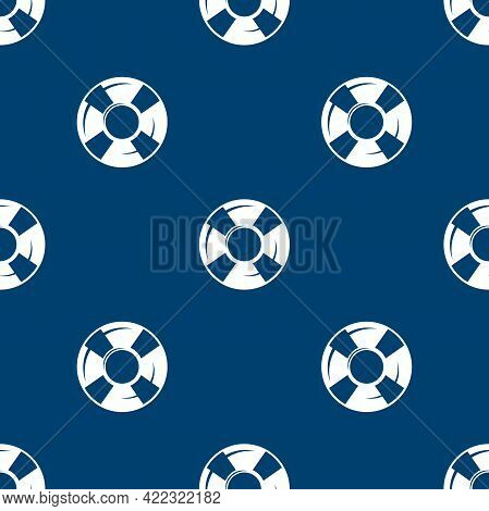 Seamless Pattern With Swimming Rubber Ring On Blue Background. Floating Lifebuoy, Toy For Beach Or S