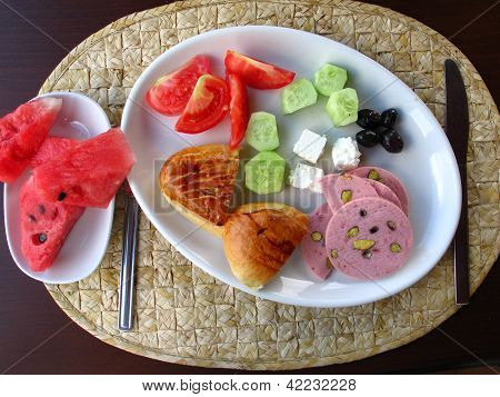Traditional breakfast in hotel in Istanbul Turkey poster