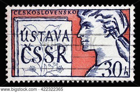 ZAGREB, CROATIA - SEPTEMBER 18, 2014: Stamp printed in Czechoslovakia shows New Czechoslovak Socialist Constitution, circa 1960