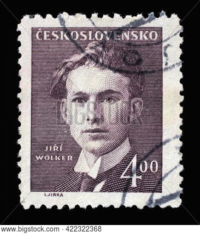 ZAGREB, CROATIA - SEPTEMBER 18, 2014: Stamp printed in Czechoslovakia shows Jiri Wolker, poet, the series The Cultural and Political Personalities, circa 1949