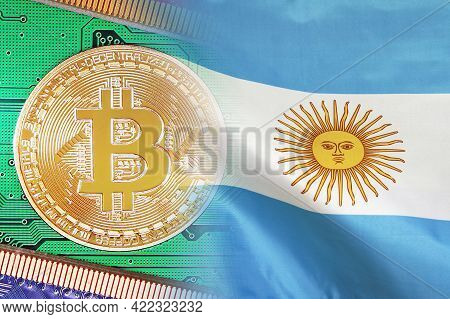 Mining In Argentina. Bitcoins On The Background Of The Argentina Flag. Concept For Investors In Cryp
