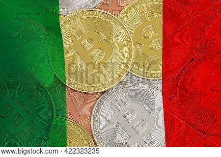 Mining In Italy. Bitcoins On The Background Of The Italy Flag. Concept For Investors In Cryptocurren