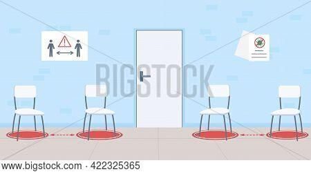 Social Distancing In Public Area Flat Color Vector Illustration. Safety Measures. Comfortable Enviro