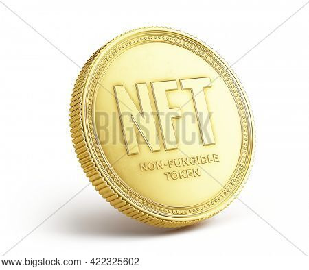NFT concept. NFT - nonfungible token on white background. 3d rendering