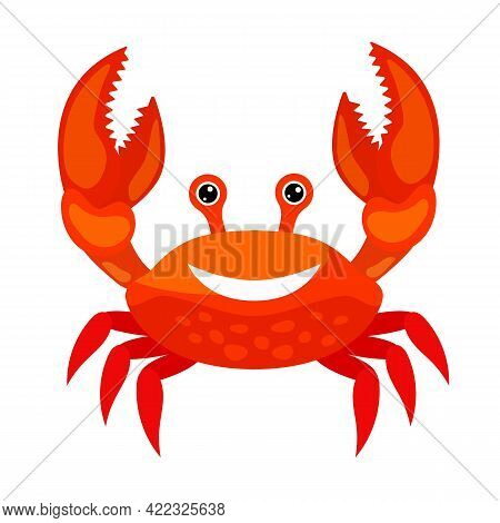 Red Cartoon Smiling Crab. Crab Character Smiling With Big Claws Isolated On White Background. Vector