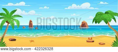 Cartoon Summer Beach. Paradise Nature Vacation, Ocean Or Sea Seashore. Sea Beach Landscape. Sea Land