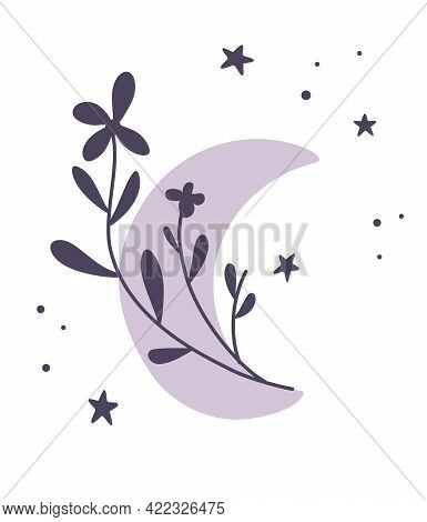 Crescent Moon Of Flowers. Beautiful Romantic Crescent In Boho Style. Botanical Moon Element. Tattoo