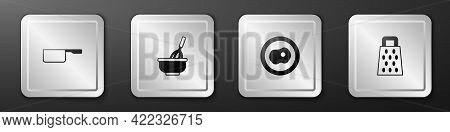 Set Saucepan, Kitchen Whisk With Bowl, Scrambled Eggs And Grater Icon. Silver Square Button. Vector