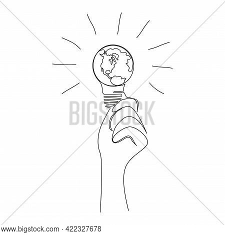 Earth Globe Inside The Light Bulb In One Continuous Line Drawing. World Map In Lamp In Simple Doodle