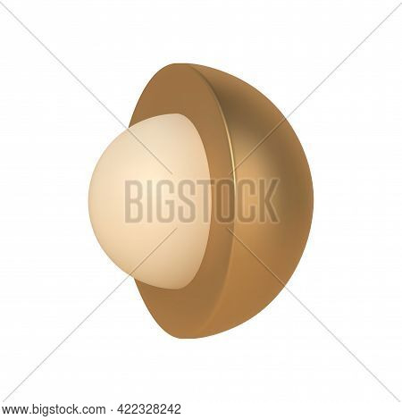 Golden Hemisphere With 3d Ball Inside Vector Template. Abstract Scandinavian Design With Realistic W