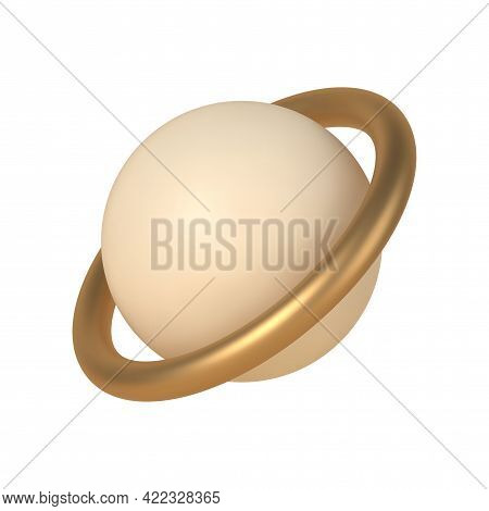 Sphere Inside Golden 3d Rings Vector Template. Geometric Shape Saturn In Trendy Boho Minimalistic De