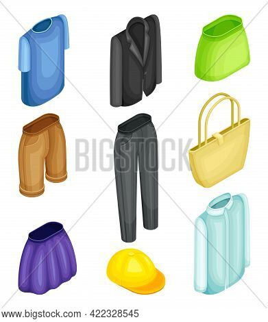 Clothing Or Apparel Items Made Of Fabrics With Pair Of Trousers And Skirt Isometric Vector Set