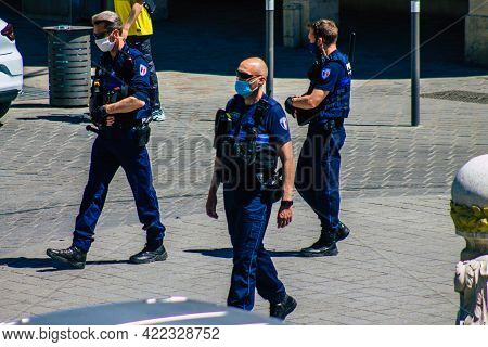 Reims France May 31, 2021 Policeman Patrolling Downtown Reims During Deconfinement In Order To Enfor