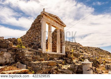 Well Preserved Temple Of Isis Side View On Delos Island Located On The Hill Above The Ancient City W