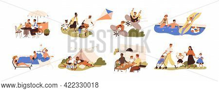 Set Of Happy Families With Children During Outdoor Recreation Activities On Summer Holidays. Parents