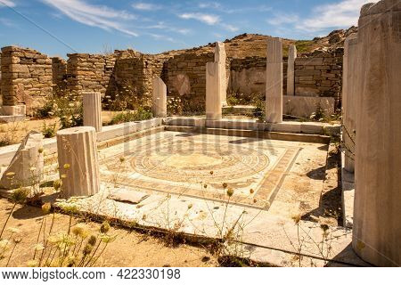 A Mosaic On The Floor Of The House Of The Dolphins On Delos Island - Mythological, Historical, And A