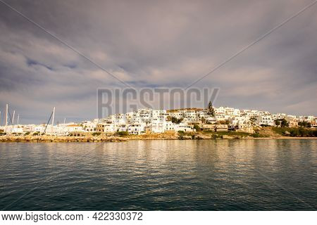 Naoussa Coastal Village (paros Island) Landscape View During Golden Hour With Typical Whitewashed Cy