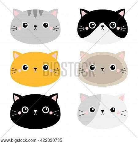Cute Cat Icon Set. Different Breeds. Kitten Face Head Silhouette. Funny Kawaii Cartoon Baby Characte
