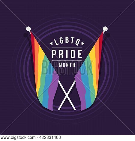 Lgbtq Pride Month Text And Two Crossed Rainbow Pride Flag On Circle Purple Background Vector Design