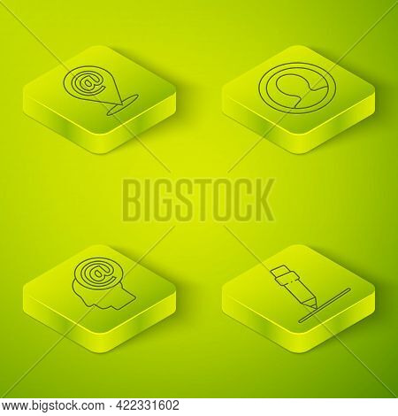 Set Isometric Create Account Screen, Mail And E-mail, Pencil With Eraser And Location And Mail And E