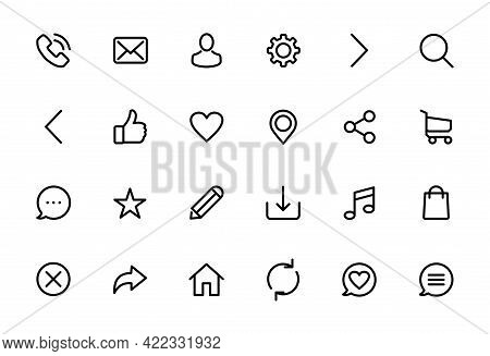 icon set. search icon, phone icon, mail icon, location pin icon contact icon, phonebook icon, cart icon, chat icon, gear icon, navigation icon, truck delivery icon. icon pack isolated on white background, Icons set line for simplify needs, icon