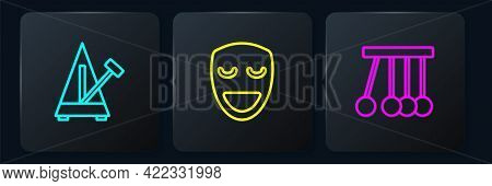 Set Line Metronome With Pendulum, Pendulum And Comedy Theatrical Mask. Black Square Button. Vector