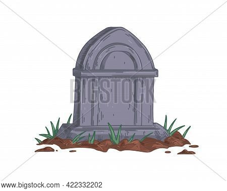 Gravestone Of Unmarked Vintage Grave. Medieval Tombstone Of Old Granite Tomb. Realistic Hand-drawn S