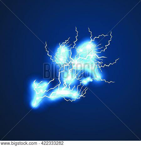 Lightning Flash.a Strong Flash Of Lightning On A Dark Blue Background.