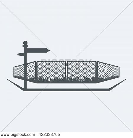 View Of The Street With A Walkway, Wire Fence And Street Name Isolated On White Background.