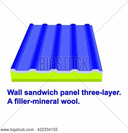 Wall Sandwich Panel Three-layer. A Filler-mineral Wool Isolated On White Background.isometric And 3d