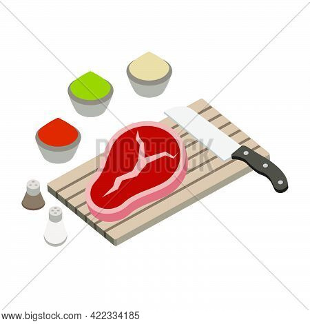 Cooking A Steak For A Barbecue. Cutting Board With A Kitchen Knife, Steak And Aromatic Spices.isomet