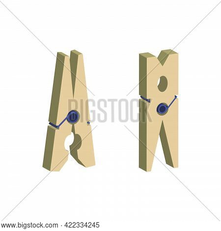 Wooden Clothespin Isolated On White Background.isometric And 3d View.