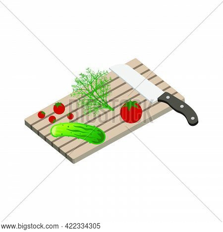Cooking Summer Salad. A Cutting Board With A Kitchen Knife And With A Tomato, Cucumber, Dill Isolate