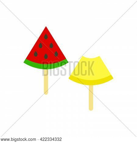 A Slice Of Melon And Watermelon On A Stick Icon Isolated On White Background.isometric And 3d View.