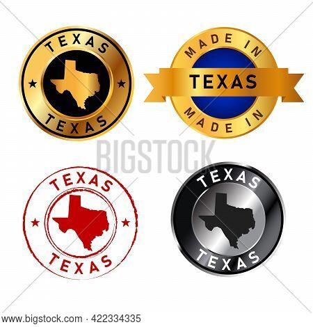 Texas Badges Gold Stamp Rubber Band Circle With Map Shape Of Country States America