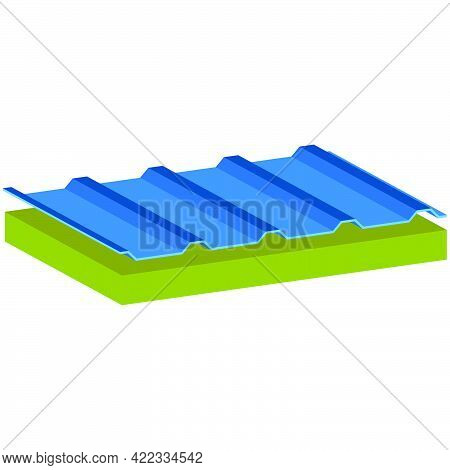 Wall Sandwich Panel Two-layer Isolated On White Background. A Filler-mineral Wool.isometric And 3d V