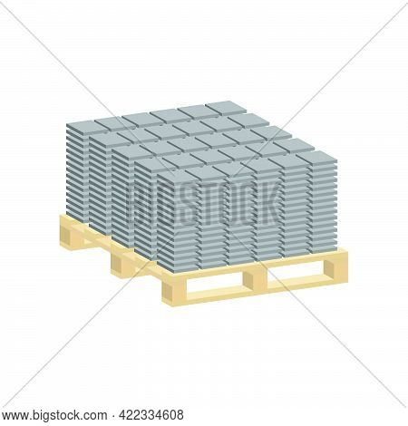 Paving Slabs On A Pallet Isolated On White Background.isometric And 3d View.