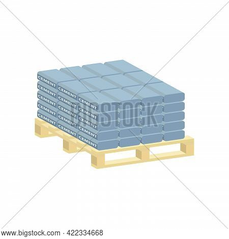 Cement Bags On A Pallet Isolated On White Background.vector Isometric And 3d View.