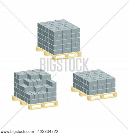 Set Of Cement Blocks For Construction On Pallets Isolated On White Background.isometric And 3d View.