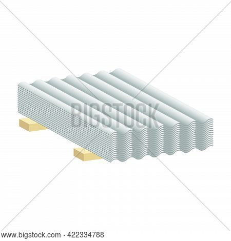 Roofing Asbestos Slate Isolated On White Background.vector Isometric And 3d View.