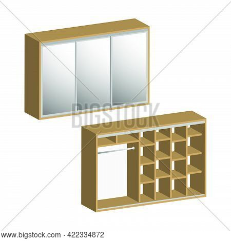 Three-door Bedroom Wardrobe Closet With Shelves Inside Isolated On White Background.isometric And 3d