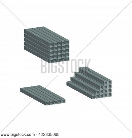 Profile Metal Pipe Stacked In Piles.vector Isometric And 3d View.