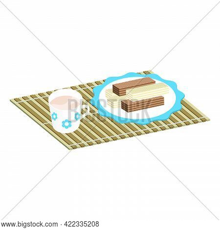 Rectangular Crispy Waffles With Milk Filling And Chocolate In A Plate With A Cup Of Cocoa On A Bambo