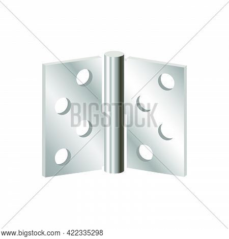 Realistic Door Hinges Color Silver Isolated On White Background.3d Vector Illustration And Realistic