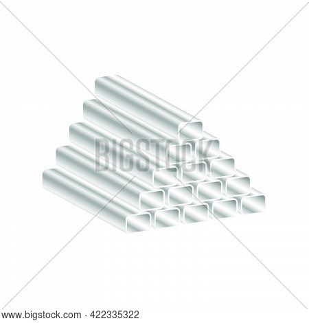 Realistic Metal Pipes Are Folded Into A Pyramid Isolated On White Background.3d Vector Illustration
