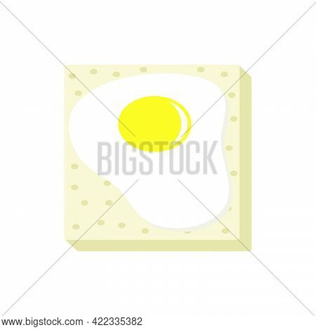 Fried Eggs On A Piece Of Bread.egg Sandwich Isolated On White Background.3d Vector Illustration And