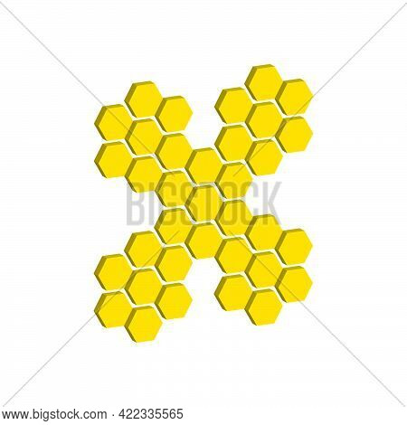 Hexagons Isolated On White Background.3d Vector Illustration And Isometric View.